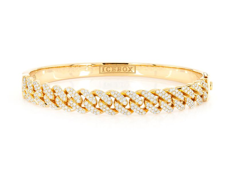 Medium Half Diamond Cuban Bangle Bracelet 14K   1.74ctw
