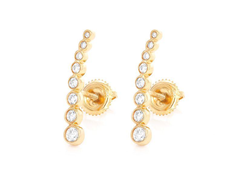 Nysa 8 Bezel Line Earrings 14K   1.7g