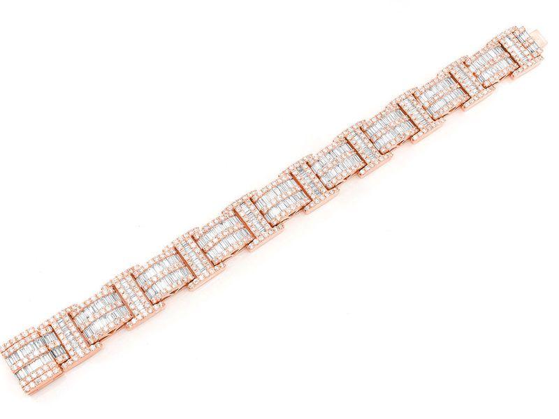 2 Row Baguette & Round Bracelet 14K   25.05ctw