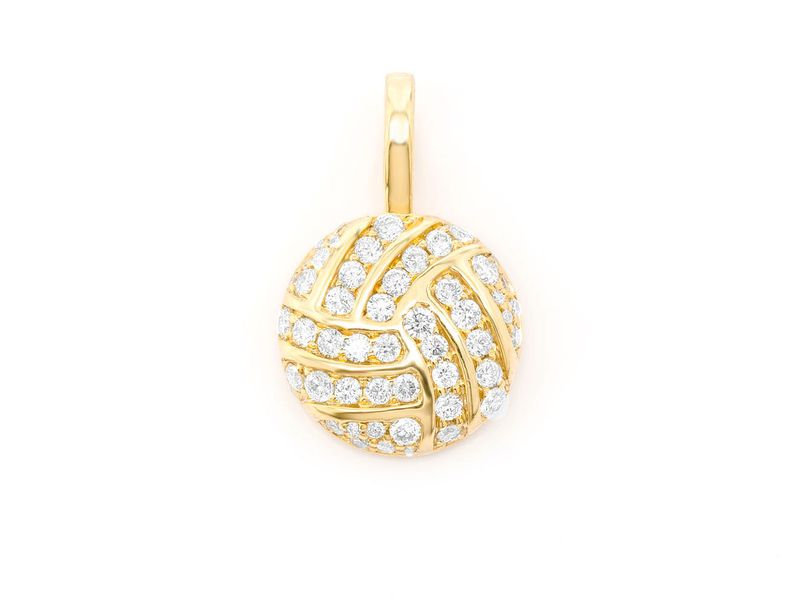 Volleyball Pendant 14K   0.50ctw