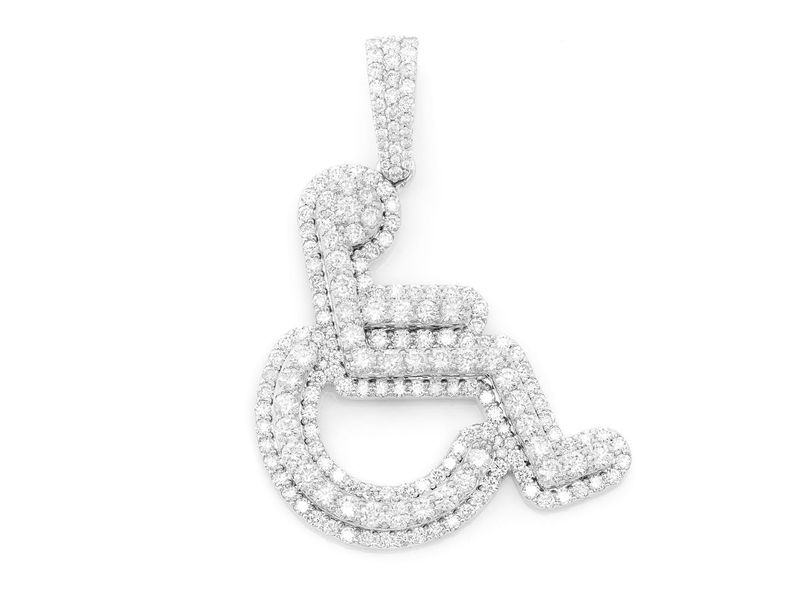 2 Layer Wheelchair Symbol Pendant 14K  2.65ctw