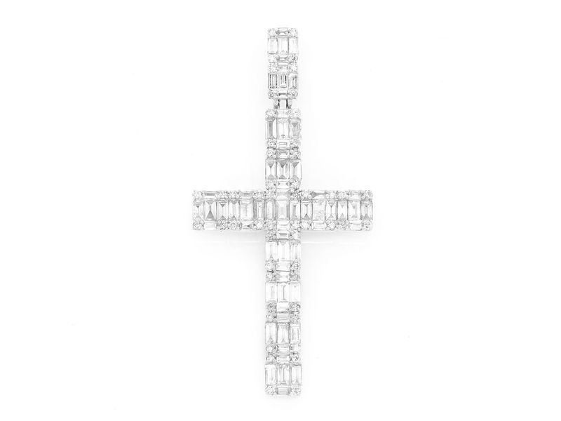 Baguette Cross Pendant 14K   2.00ctw
