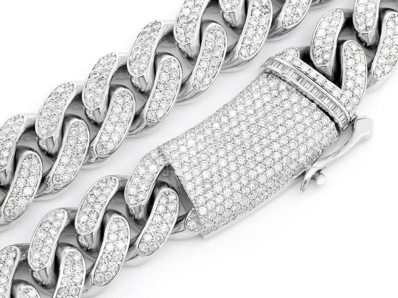 Diamond Cuban Necklace 14K   48.72ctw