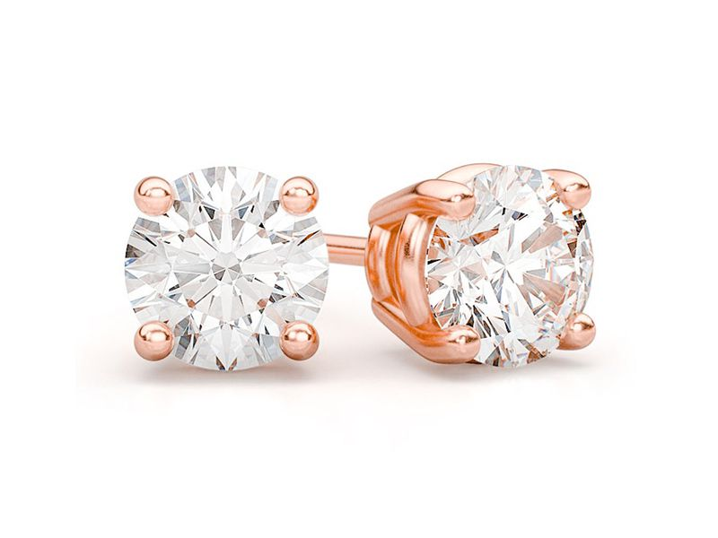 Solitaire Diamond Stud Earrings 14K   2.50ctw
