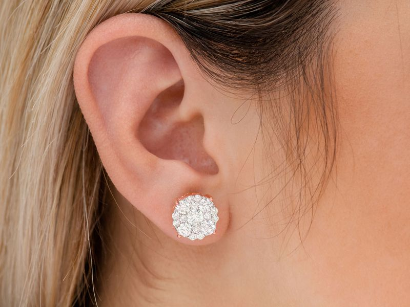 Comp Round Stud Earrings 14K   3.00ctw