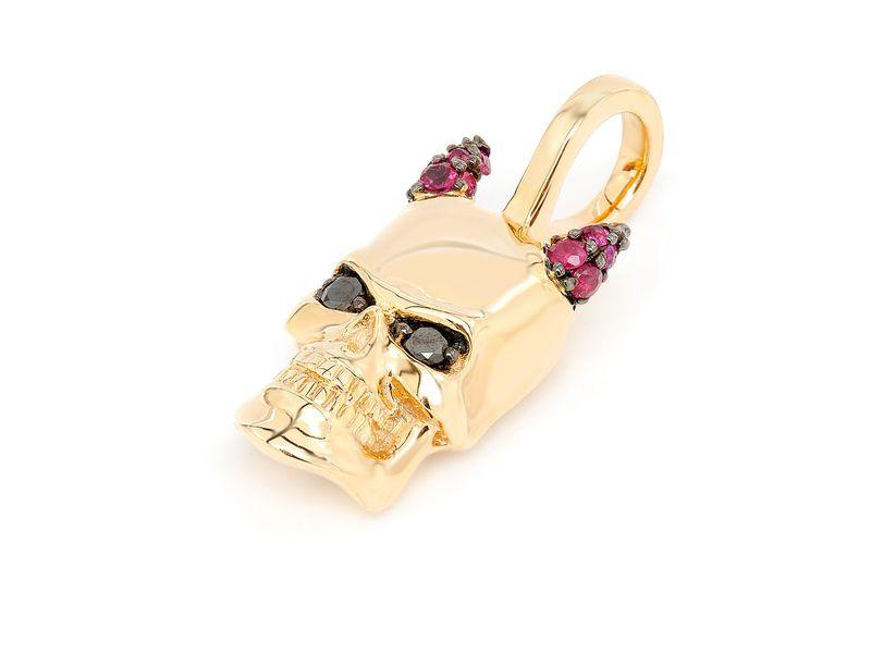 Horned Skull Pendant 14K   0.15ctw