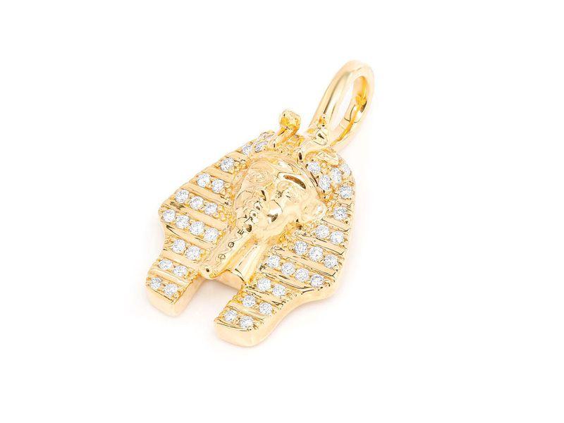 14kt Yellow Gold 5pt Diamond Dagger Shaped Pendant