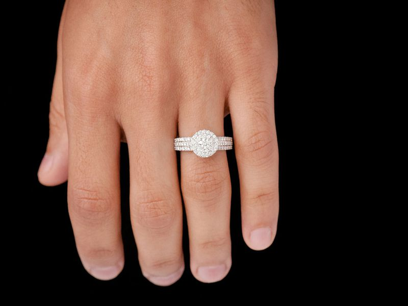 Three Layer Round Ring 14K   0.97ctw