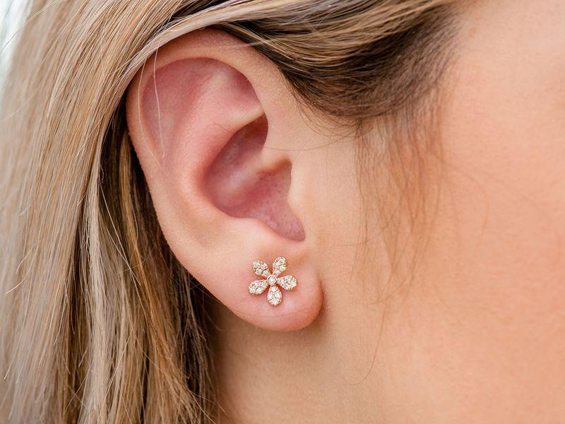 Zoe Flower Stud Earrings 14K   0.35ctw
