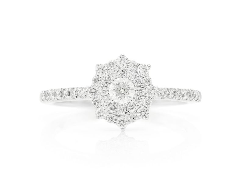 Unique Halo Engagement Ring 14K   0.49ctw