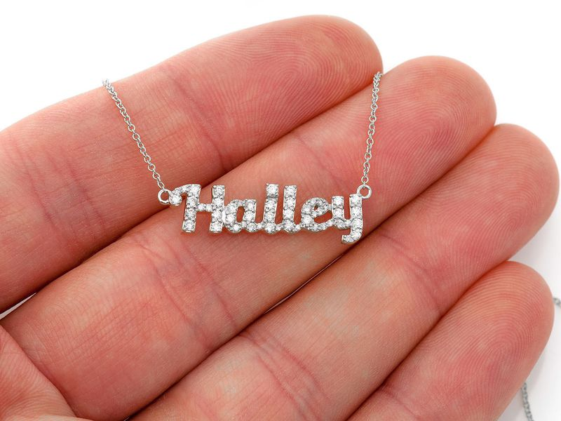 Hailey Script Letter Pendant 14K   0.08ctw