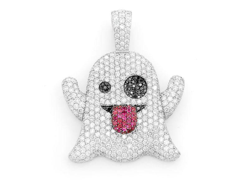 Ghost Emoji Pendant 14K   5.25ctw