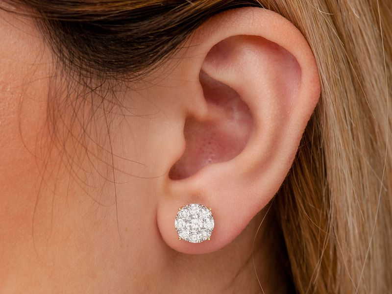 Solitaire Cluster Earrings 14K   2.00ctw