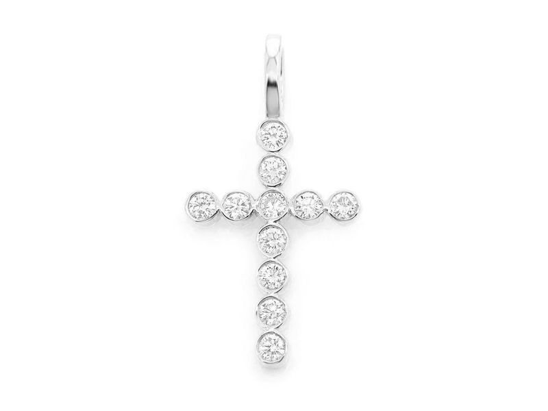 Bezel Set Cross Pendant 14K   0.38ctw