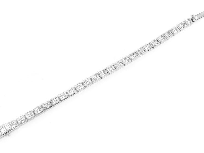 Baguette Square Link Bracelet 14K   8.51ctw