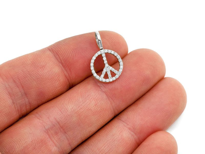 Peace Sign Pendant 14K   0.27ctw