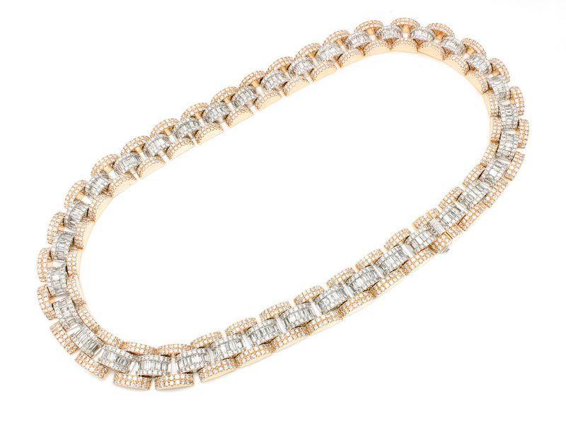 Baguette & Round Link Necklace 14K   60.95ctw