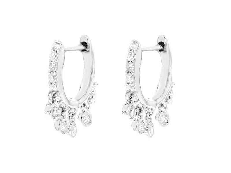 Dangling Bezel Huggie Hoop Earrings 14K   0.30ctw