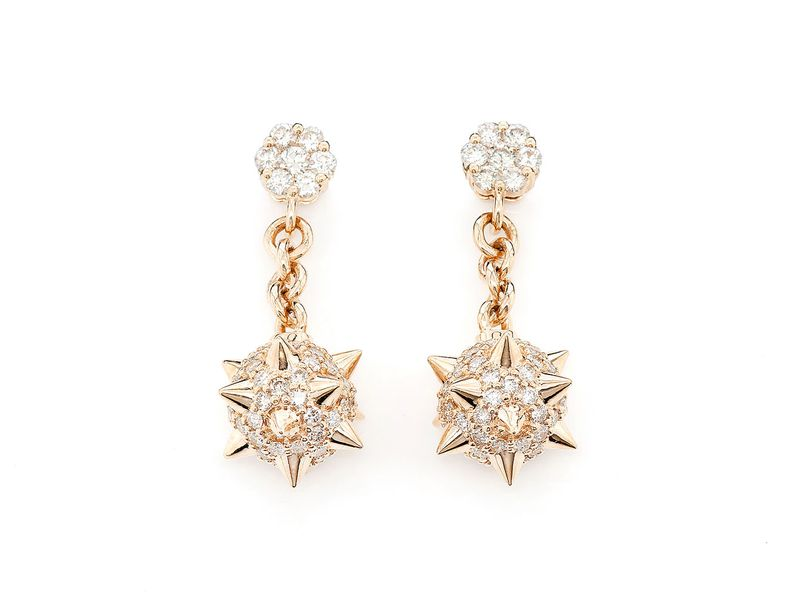 Spike Ball Dangling Earrings 14K   1.18ctw