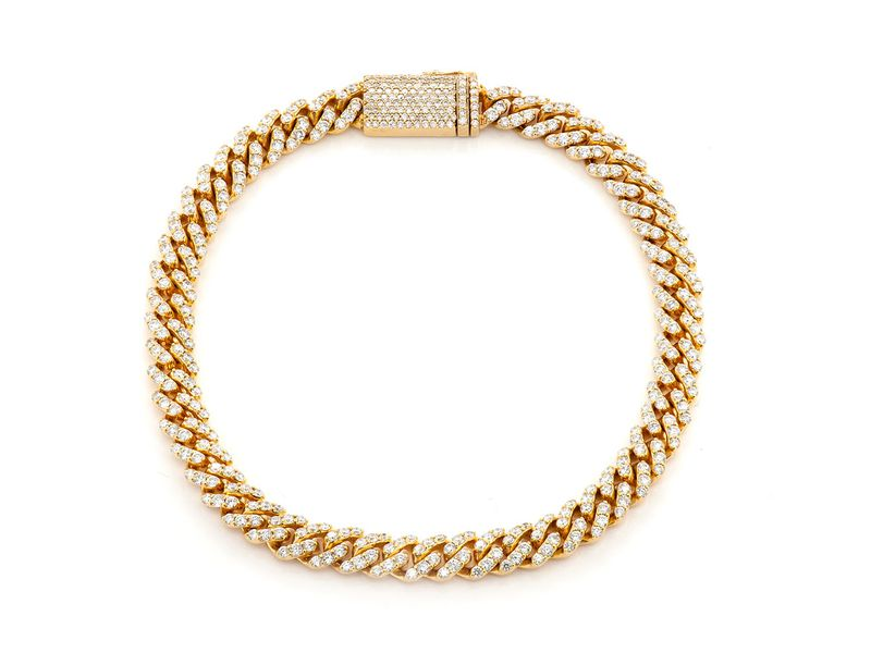 6mm Diamond Miami Cuban Bracelet 14K   4.25ctw