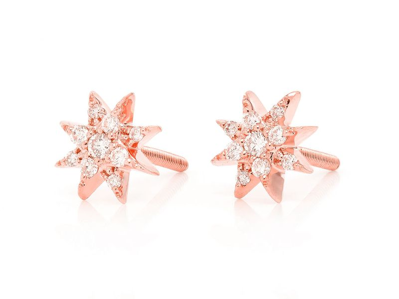 Mini 8 Point Star Earrings 14K   0.11ctw