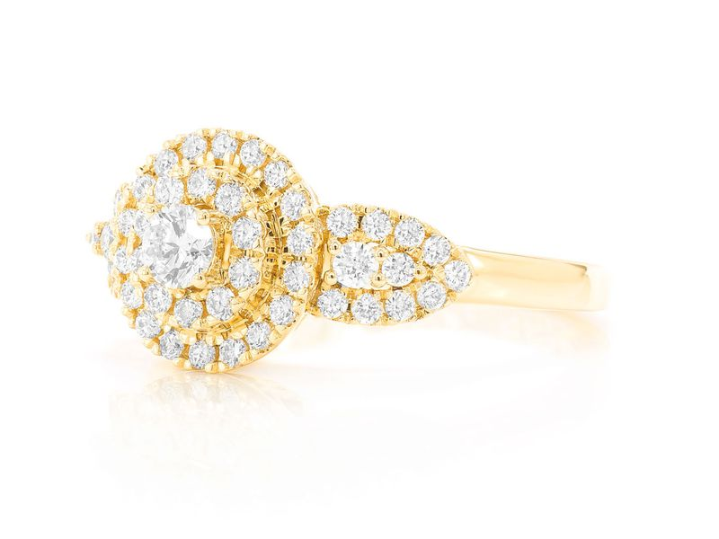 Round Two Tier W/ Side Stones Ring 14K   0.72ctw