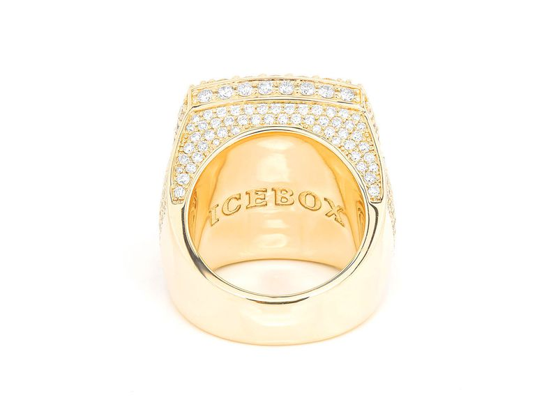 Step Double Halo Signet Ring 14K   6.74ctw