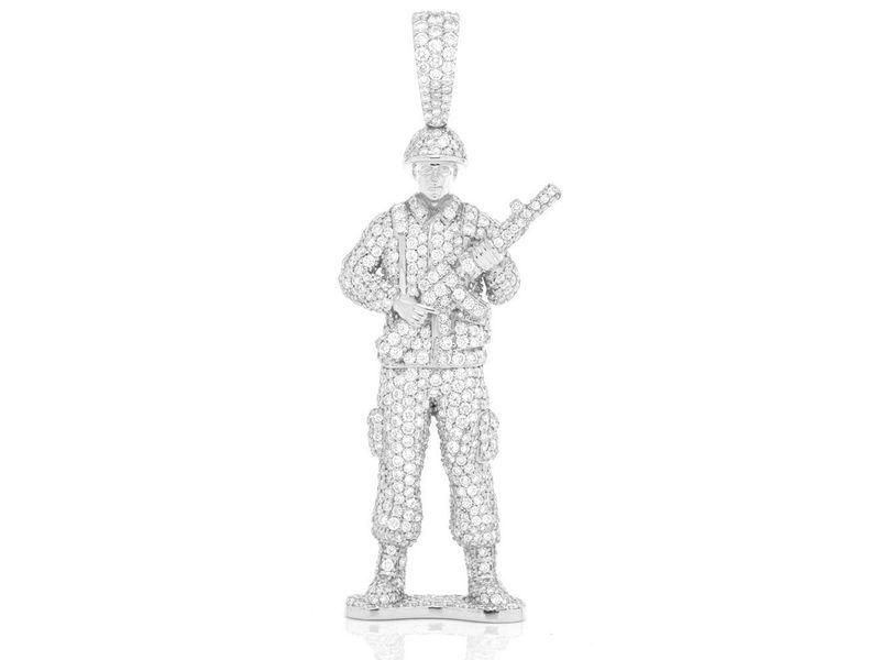 Lieutenant Army Man Pendant 14K   4.50ctw
