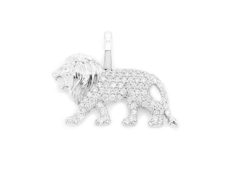 Walking Lion Pendant 14K   0.32ctw