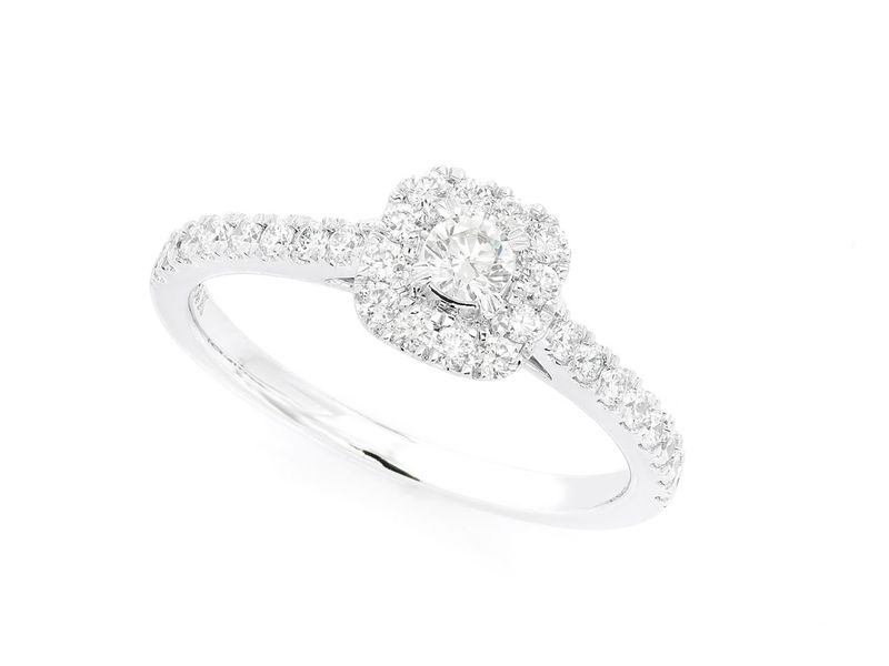 Single Band Double Layer Square Engagement Ring 14K   0.49ctw