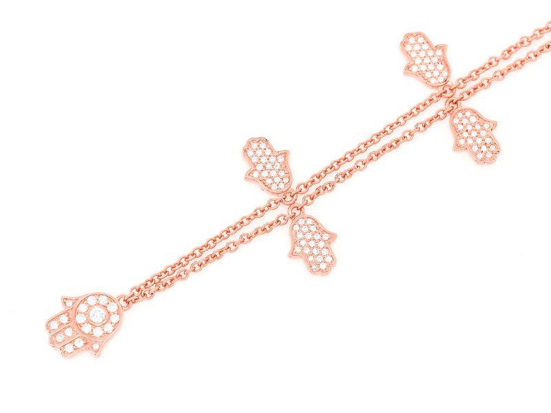 5 Hamsa Rolo Necklace 14K   0.40ctw