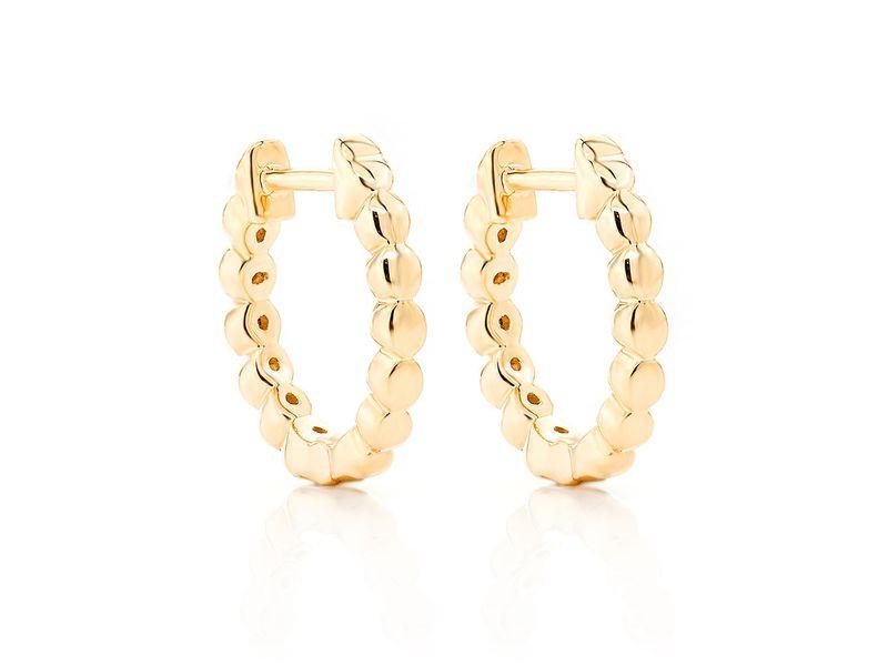 Ahdel Bezel Hoop Earrings 14K   0.12ctw