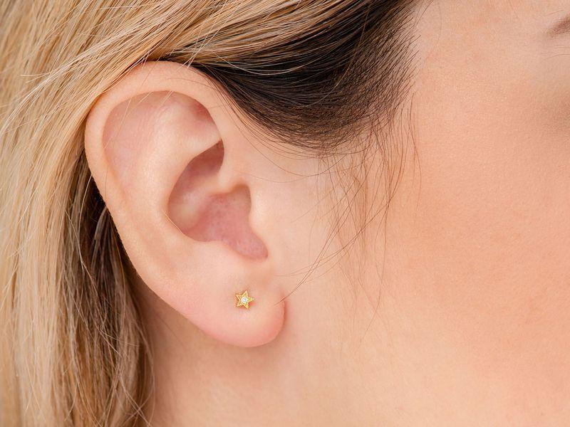Ares Star Earrings 14K   0.02ctw