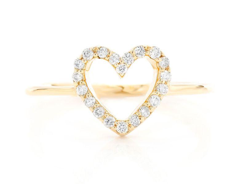 Open Heart Ring 14K   0.16ctw