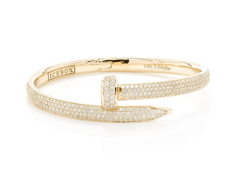 Small Nail Bangle Diamond Bracelet 14K   2.64ctw