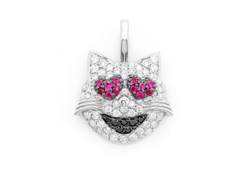 Loving Cat Emoji Pendant 14K   0.68ctw