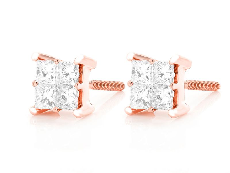 Princess Quad Diamond Earrings 14K   0.73ctw