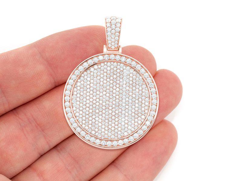 Pave Medallion Pendant 14K   5.16ctw