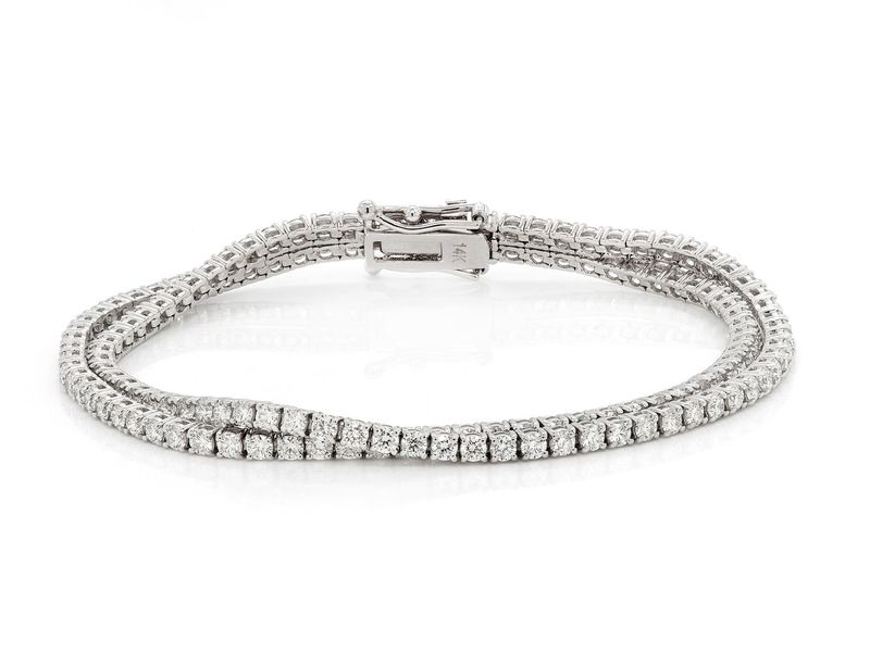 Two Row Bracelet 14K   6.12ctw