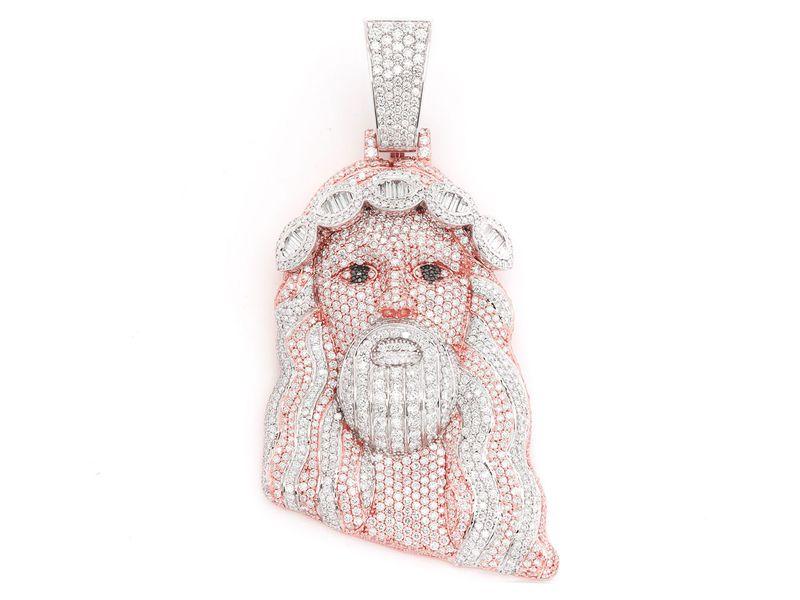 Baguette Crown Jesus Pendant 14K   15.00ctw