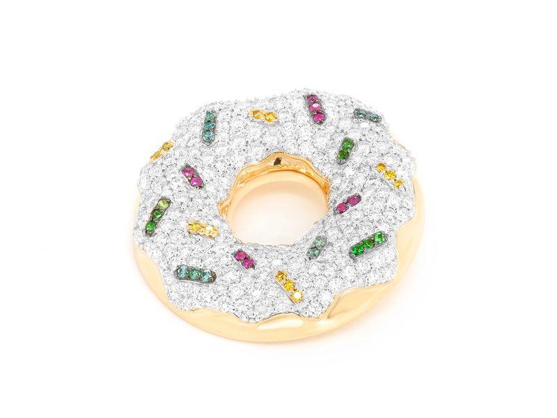 Sprinkled Donut Pendant 14K   2.05ctw