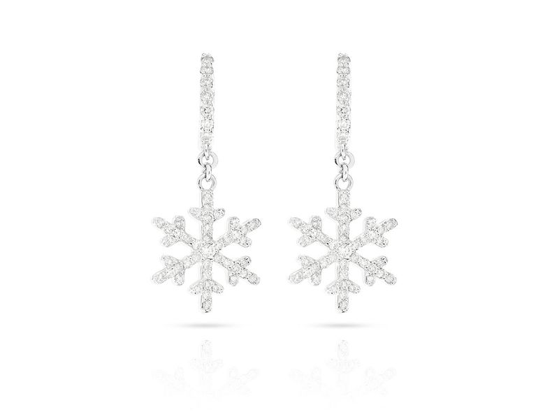 Snowflake Huggie Dangling Earrings 14K   0.55ctw