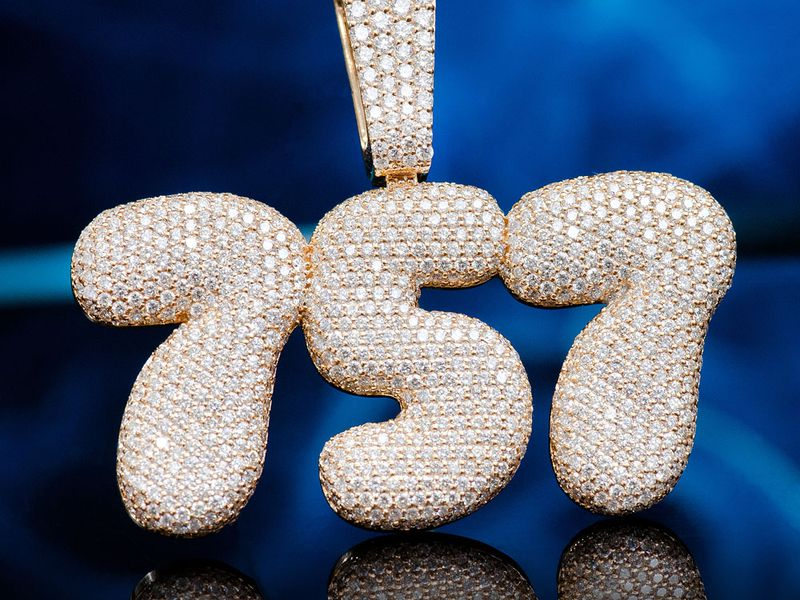 Custom Bubbly Letters 14K   7.25ctw