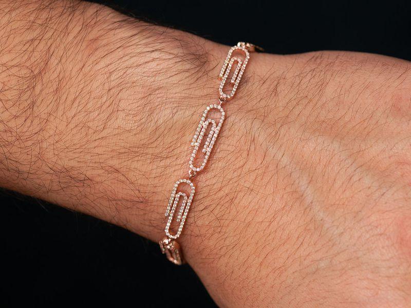 Paper Clip Bracelet 14K   1.88ctw