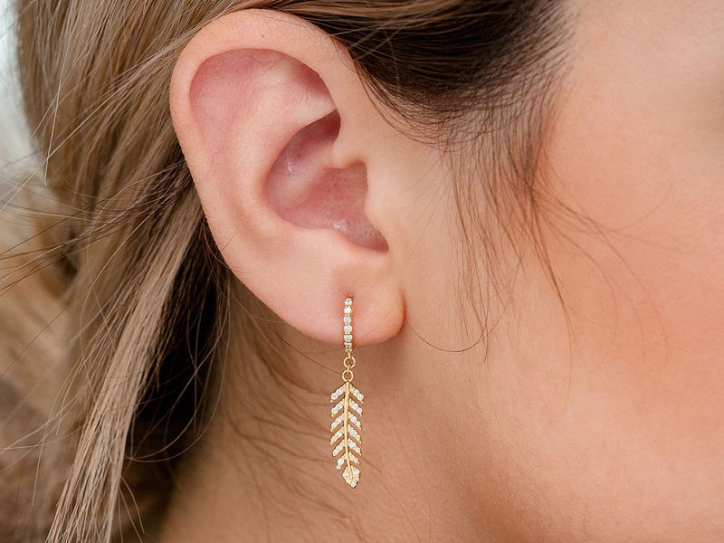 Feather Huggie Earrings 14K   0.36ctw
