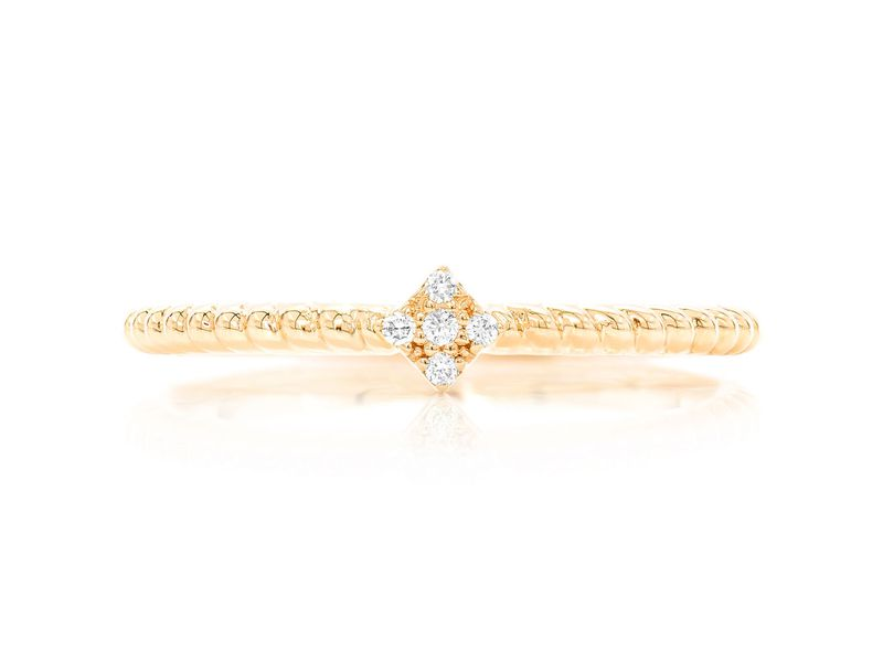 Square Rope 5 Stone Betty Collection  Ring 14k   0.02ctw