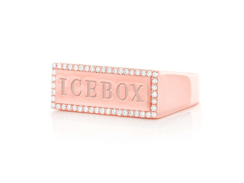 Icebox Logo Ring 14K   0.30ctw