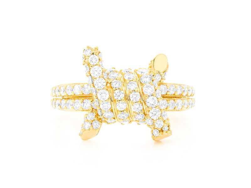 Barbed Wire Four O'clock Ring 14K   1.70ctw