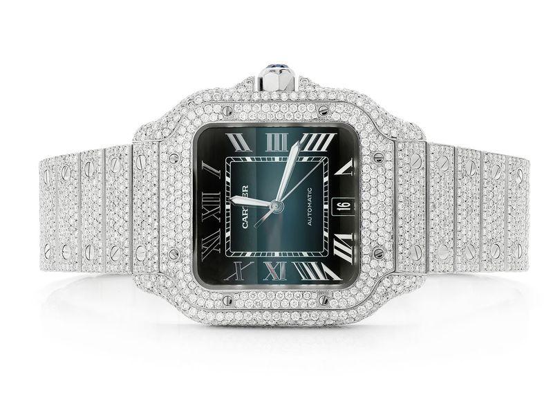 Custom Cartier Blue Dial Watch -  Male 22.50ctw