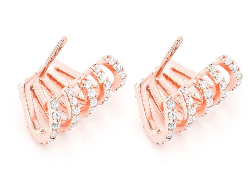 Calypso Five Row Hoop Earrings 14K   1.00ctw